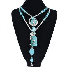 N-7410  Bohemian Ethnic Irregular Turquoise Stone Silver Chain Bells Tassel Necklaces for Women Tribal Party Jewelry