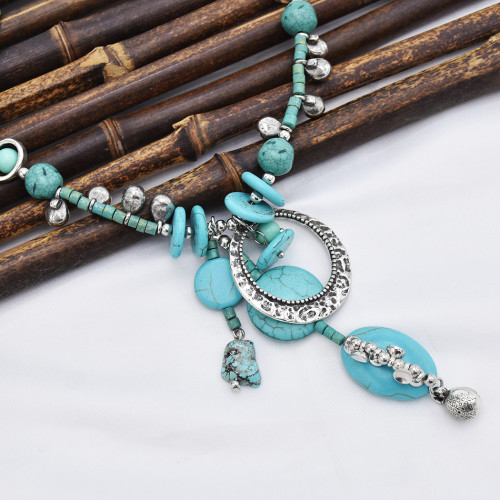 N-7409  Bohemia Silver Chain turquoise green stone Pendant Choker Necklaces for Women Party Jewelry