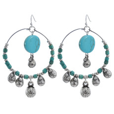 E-5910  New Ethnic Bohemian Turquoise Stone Drop Dangles Earrings for Women Vintage Party Statement Jewelry