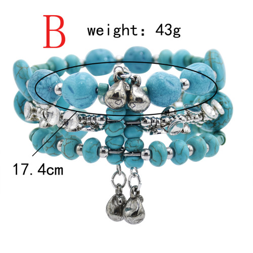 B-1071  Bohemia Vinatge turquoise green stone bracelet bangle Indian Jewelry
