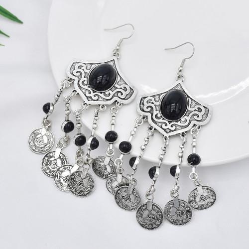 E-5911  Ethnic Bohemian Coin Tassel Drop Earring Antique Green Stone Tribal Earrings Broncos Fashion Party Jewelry