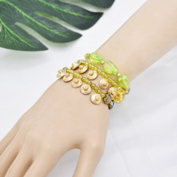 B-1072  3 pieces/set of bohemian amber crystal beads green metal beads mixed bracelet pendant party women gift jewelry