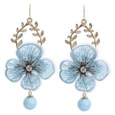E-5912  Korea Fashion Gold alloy Lace embroidery flower beaded drop earrings Jewelry