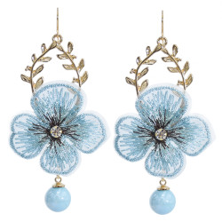 E-5912  Korea Fashion Gold alloy Lace embroidery flower beaded drop earrings Jewelry