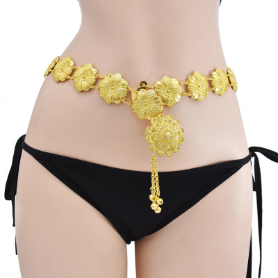 N-7413  Bohemian metal alloy flowers with bells tassel dance waist chain ethnic style woman beach sexy body chain jewelry