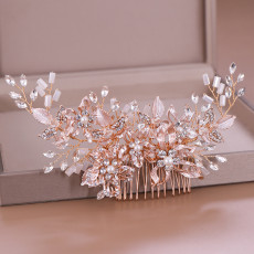 F-0792  Fashion crystal flower white beaded hair comb Jewelry