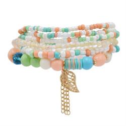 B-1074  6 Pcs/Set Bohemian Multi-layer Beaded Bracelets Set Women Leaf Pendant Colorful Stone Elastic Bracelets Fashion Jewelry
