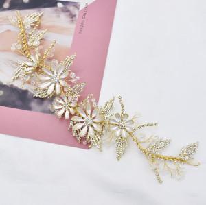 F-0793  Bridal Gold Wired Rhinestone Pearl Beads Leaf Flower Headbands for Women Wedding Hair Accessories