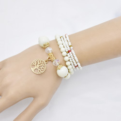 B-1075  5 pieces/set of vintage white/black gold alloy tree bracelet beaded crystal bracelet gift party women jewelry