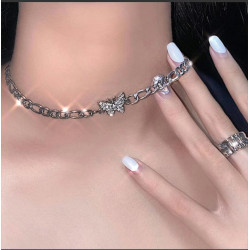 N-7412  2 Styles Fashion Silver Chain Rhinestone Butterfly Smile Pendant Necklaces for Women Girl Party Jewelry