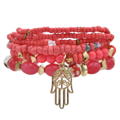 B-1076  6 Pcs/Set Bohemain Jewelry Acrylic Beaded Elatic Bracelets for Women with Hand Pendant Party Jewelry Gift