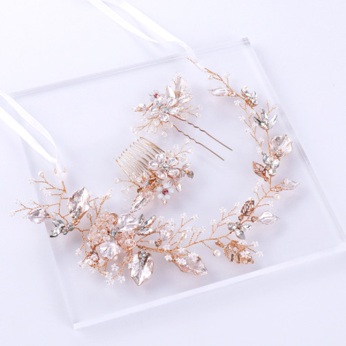 F-0795  Bridal Gold Wired Rhinestone Pearl Beads Leaf Flower Headbands Hairclip Haircomb Jewelry sets for Women Wedding Hair Accessories