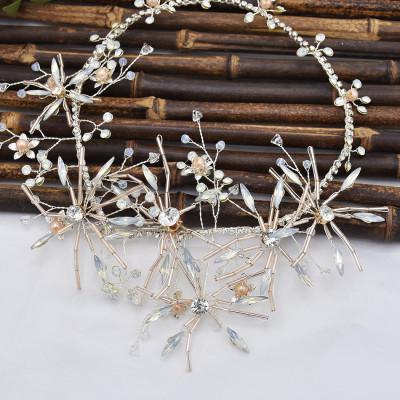 F-0794  Bride gold crystal pearl diamond headband hair accessories jewelry set women wedding hair accessories