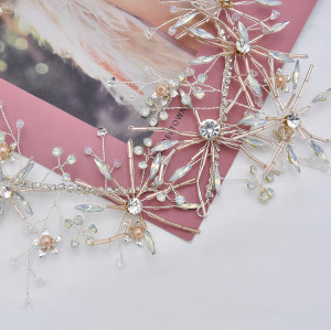 F-0794  Bride gold crystal pearl diamond headband hair accessories jewelry set women wedding hair accessories