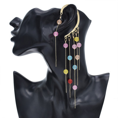 E-5914  Hanging ear white pearl/color transparent beads tassel ear hook ear clip party gift women jewelry
