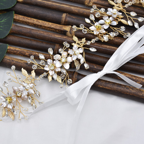 F-0796  Fashion Bride gold crystal pearl flower headband Jewelry women wedding hair accessories