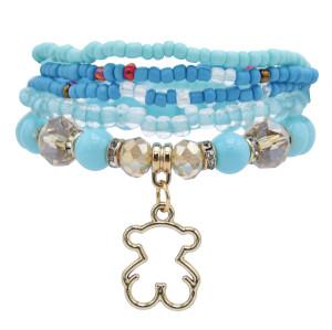 B-1077  5Pcs/set Bohemian White Blue Acrylic Beads Statement Bracelets with Bear Pendant Women Party Jewelry Summer Gift