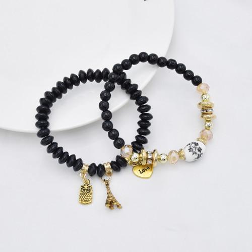 B-1078  Bohemian Multi-layer Beaded Bracelets Set Women Heart Pendant Colorful Stone Bracelets Fashion Jewelry