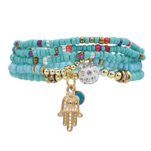 B-1080  Multi-layer Beaded Bracelets Set Women Heart Pendant crystal hand Bracelets Fashion Jewelry