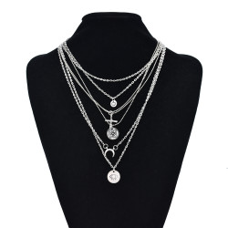 N-7414  Bohemian Multi Layered Necklace for Women Vintage Coin Star Moon Pendant Necklace Geometric Collares Jewelry