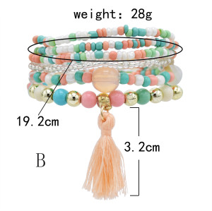 B-1081  6 pieces/set of boho jewelry acrylic color beaded elastic bracelet party jewelry gift women jewelry