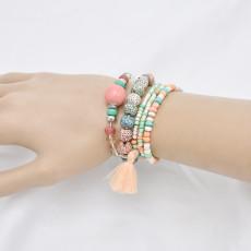 B-1081  6 pieces/set of boho jewelry acrylic color beaded elastic bracelet party jewelry gift women jewelry