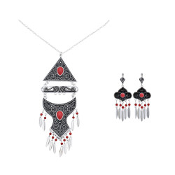 N-7415  Vintage Silver Metal Red Black Blue Stone Necklaces Earrings Sets for Women Bohemian Gypsy Party Jewelry Sets