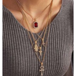 N-7416  Bohemian style multi-layer necklace retro coin pendant necklace geometric collar women jewelry
