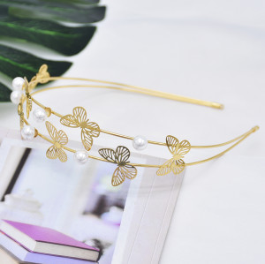 F-0797  Fashion Butterfly Hair Accessories Women Gold Plated Butterfly Headband Hairband Fashion Metal Hair Jewelry