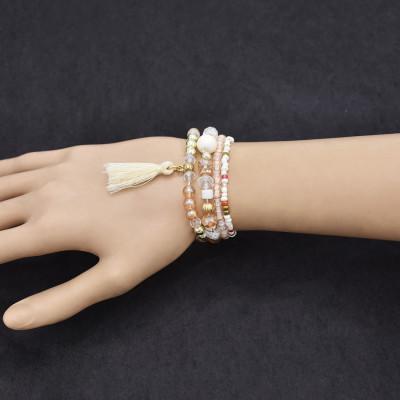 B-1083  4pcs/set colorful beads crystal tassel bracelet women trendy gift jewelry