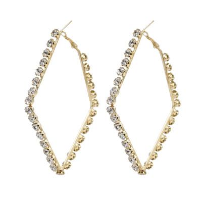 E-5915  Fashion Big Hoop Earrings Shiny Zircon Delicate Earrings Girl Party Accessories