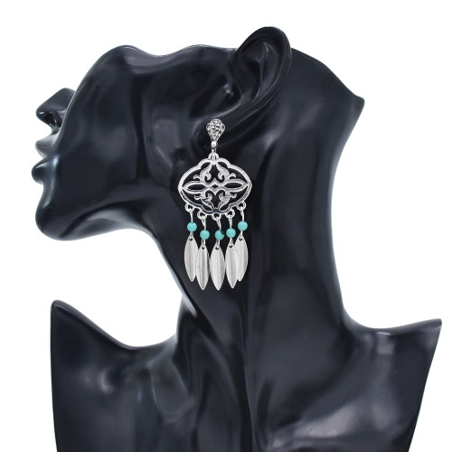 N-7418  Vintage silver color stone tassel necklace earring set female bohemian gypsy party jewelry set