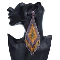 E-5916   Bohemia Vintage purple beaded tassel earrings Indian Jewelry