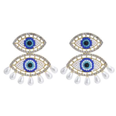 E-5917  Fashion Eye Drop Earrings for Women Bohemian Rhinestone Pearl Long Tassel Earring Statement Party Jewelry