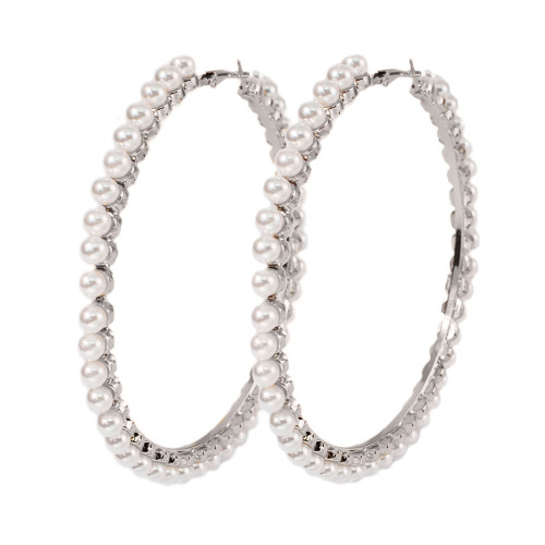 E-5918  Fashion Simple Metal Pearl Hoop Earrings Fashion Big Circle Hoop Statement Earrings for Women Party Jewelry Gift