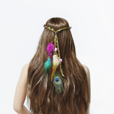 F-0801  Ethnic Peacock Feather Flower Headbands Headdress for Women Bohemian Gypsy Tribal Feather Hair Accessories