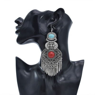 E-5919  Vintage Ethnic Carved Flower leaves tassel earrings Gypsy Jewelry