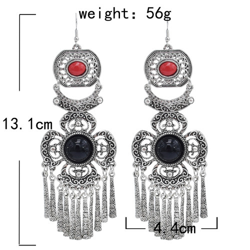 E-5920  Vintage Ethnic Carved Flower Turquoise tassel Earrings Gypsy Party Jewelry Gift