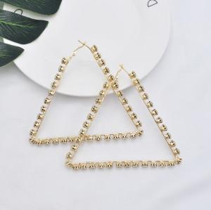 E-5921  Fashion Simple Metal Diamond Earrings Fashion Big Triangle Earrings Women Party Jewelry Gifts