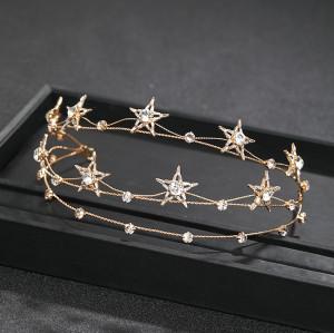 F-0804  New Korean Style Star Shape Crystal Rhinestone Hairbands Crowns Women Bridal Wedding Hair Accessories