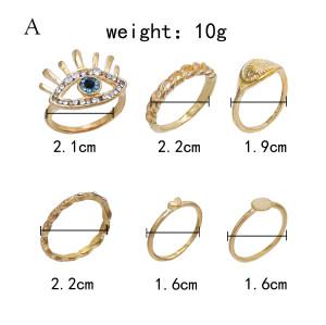 R-1529   2 style bohemian retro eyes/sun diamond joint nail ring finger ring punk ring