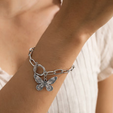 B-1086  Vintage Silver Thick Chain Butterfly Pendant Bracelet Party Gift Women Jewelry