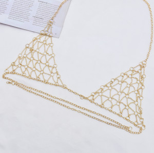 N-7422  Vintage style Gold Metal mesh bra Body Chain Jewelry Sexy Girls waist Chain Body Jewelry