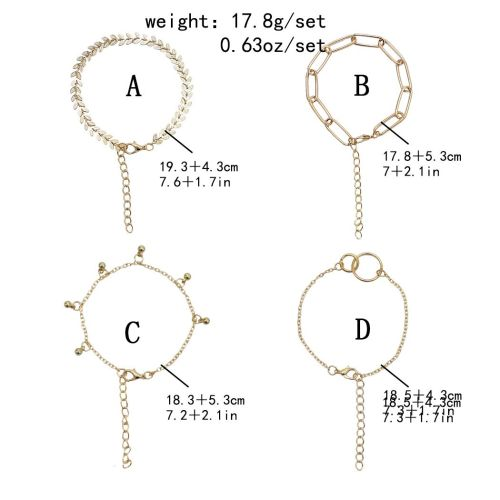 B-1087  4Pcs/Set Bohemian Gold Chain Leaf White Acrylic Beads Stone Bracelets for Women Party Jewelry Gift