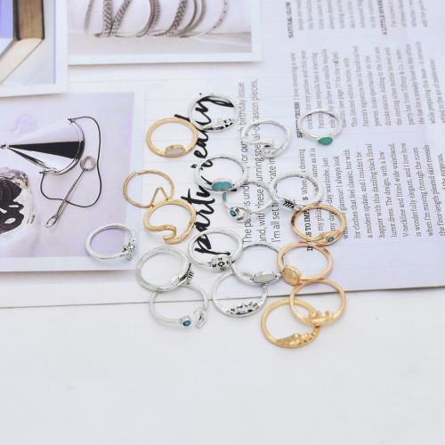 R-1532   19Pcs/set Bohemian Eye Moon Geometric Shape Gold Silver Metal Midi Finger Rings for Women Party Jewelry Gift