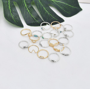 R-1532   19Pcs/set Bohemian Eye Moon Geometric Shape Gold Silver Metal Midi Finger Rings for Women Party Jewelry Gift
