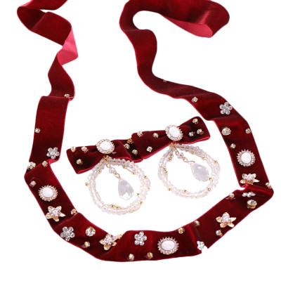 F-0806  Red Bow Headbands Earrings Set for Bride Wedding Party Rhinestone Crystal Drop Earrings Hair Accessories Jewelry Set