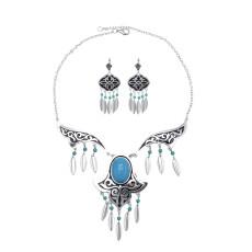 N-7425  Retro silver blue gemstone tassel necklace earrings set female bohemian gypsy party jewelry set