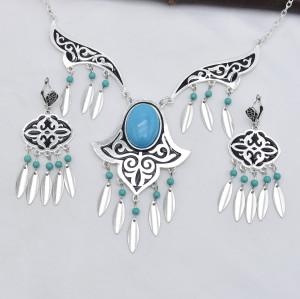Retro silver blue gemstone tassel necklace earrings set female bohemian gypsy party jewelry set