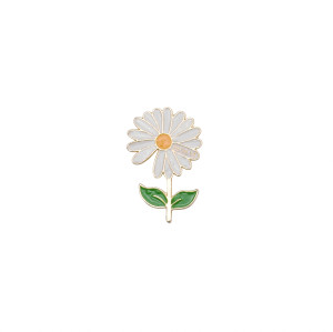 P-0449  New Cute Enamel Pins Daisy Blossom Brooches For Women Flower Button Badges Denim Jeans Dress Accessories